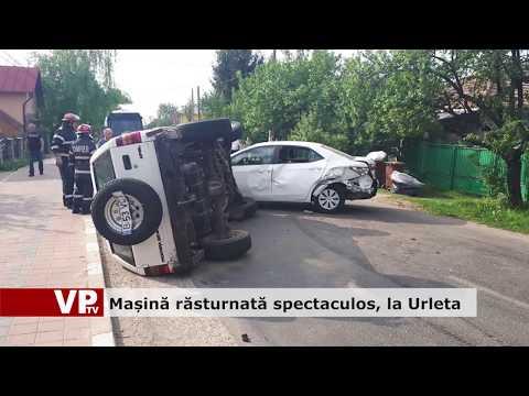Mașină răsturnată spectaculos, la Urleta