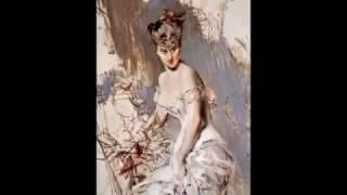 Boldini dipinge donne elegantissime, bellissime, affusolate e sontuose, e lo fa con estrema sapienza. I volti sono...