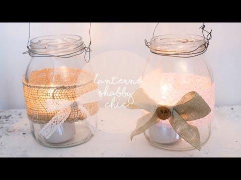 deliziose lanterne chabby chic con vasetti di vetro riciclato