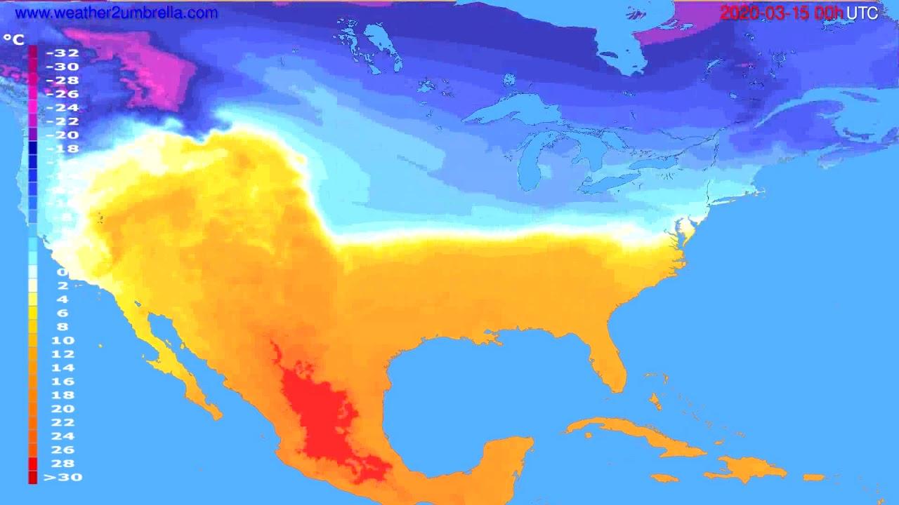Temperature forecast USA & Canada // modelrun: 00h UTC 2020-03-14