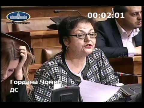 Гордана Чомић у Скупштини о амандманима на Предлог измена Закона о здравственој заштити