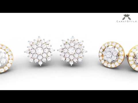 Knot of Diamonds : Cluster Collection - Designer Diamond Earrings