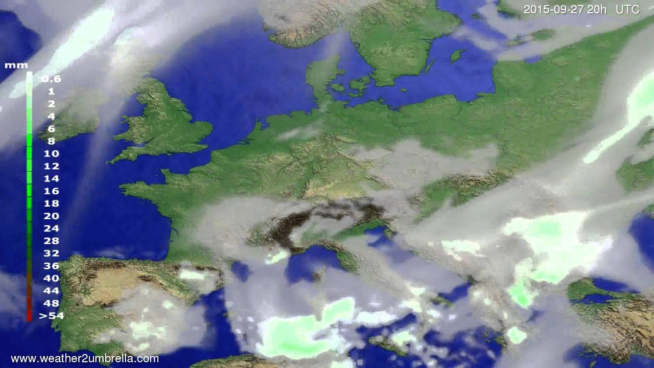 Precipitation forecast Europe 2015-09-24