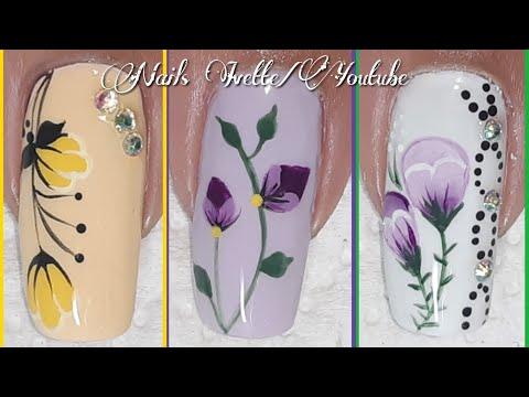 Uñas decoradas - 3 diseños de uñas tulipanes/decoración de uñas flores tulipanes