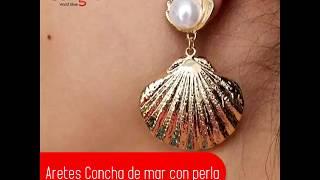 Aretes Concha de mar con Perla