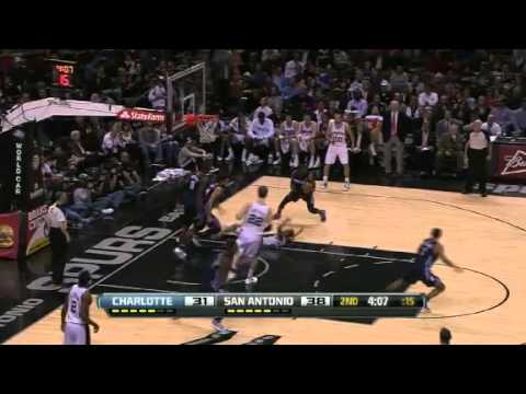 Bobcats get the turnover and Ramon Sessions finishes run out dunk! - Spurs vs. Bobcats