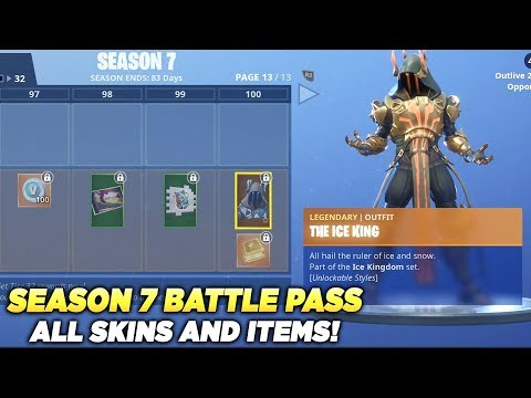 ALL SKINS AND ITEMS Season 7 Battle Pass Tier 100 - Fortnite Battle Royale