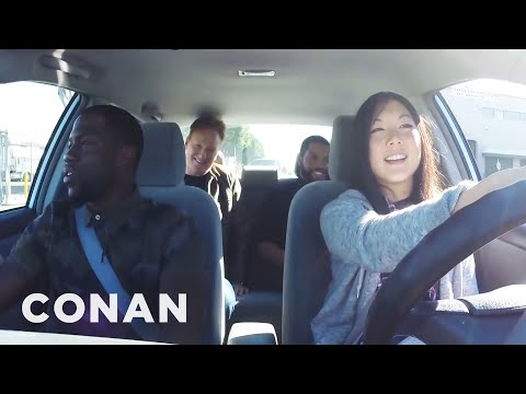 WATCH WHAT HAPPENS WHEN KEVIN HART, ICE CUBE AND CONAN TEACH CONAN'S INTERN HOW TO DRIVE