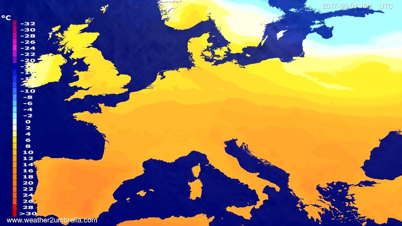 Temperature forecast Europe 2017-05-29