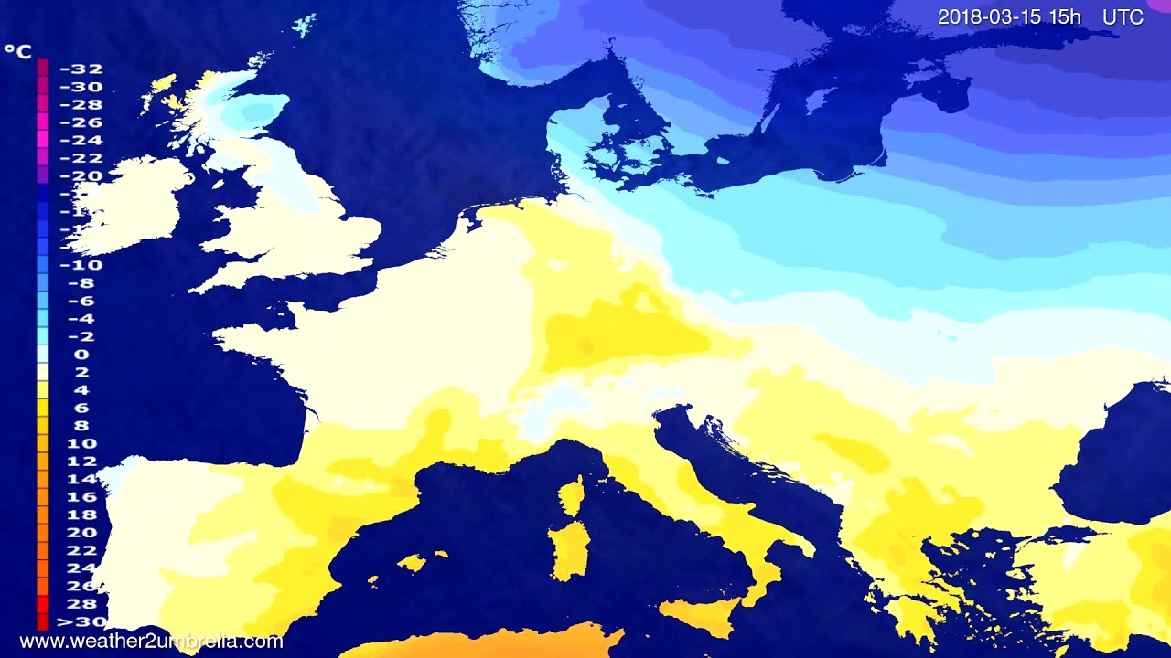 Temperature forecast Europe 2018-03-13