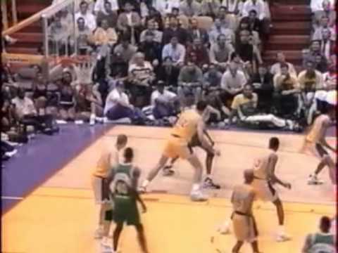 shawn kemp - Game 3 of the 1995 Western Conference 1st Round between Seattle SuperSonics and Los Angeles Lakers, the series were tied at 1-1. Shawn Kemp was the games hig...