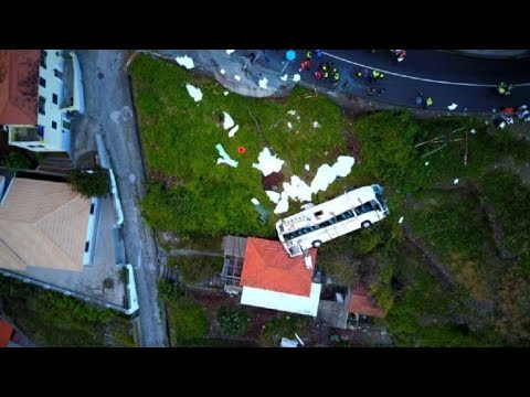 Drone Footage Shows Site Of Portuguese Tourist Bus Accident
