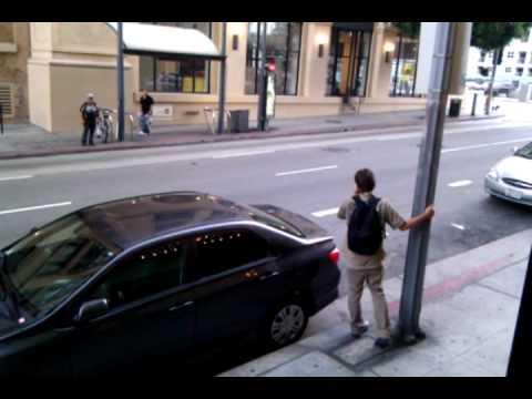 Drunk Guy Breaks Nose on Lamppost