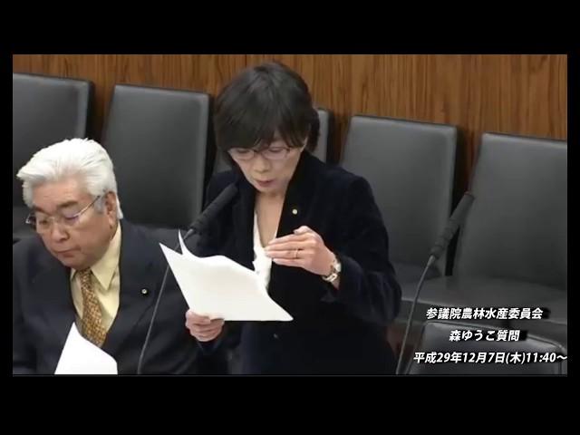 参議院農林水産委員会 森ゆうこ質問【動画】平成29年12月7日(木)