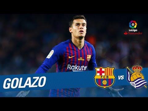 Golazo de Coutinho (1-0) FC Barcelona vs Real Sociedad (видео)