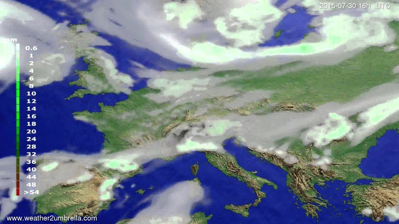 Precipitation forecast Europe 2015-07-28