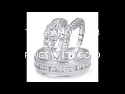 The Glamorous 3 Piece Wedding Rings White Gold