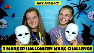 Video 3 Marker Halloween Mask Challenge ~ Fun DIY Masks ~ Jacy and Kacy MP3, 3GP, MP4, WEBM, AVI, FLV November 2018