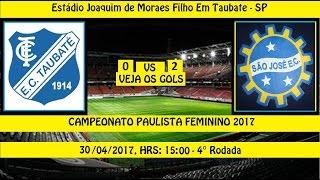 PAULISTÃO FEMININO 2017 - GOLS DO JOGO Estádio Joaquim de Moraes Filho - Taubaté - SP Jogo da 4° Rodada Taubaté 0 x 2 São José EC TRANSMISSÃO: TV FPF-SP Dia:...