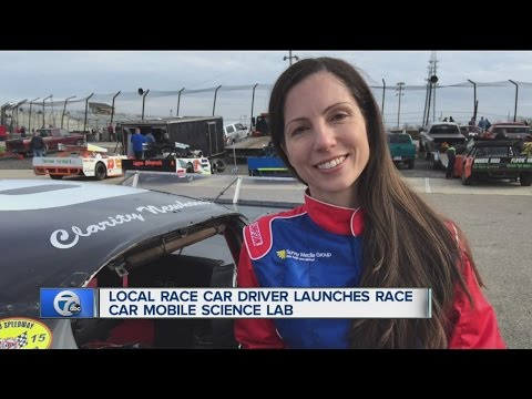 Local race car driver inspires kids with Race Car Mobile Science Lab