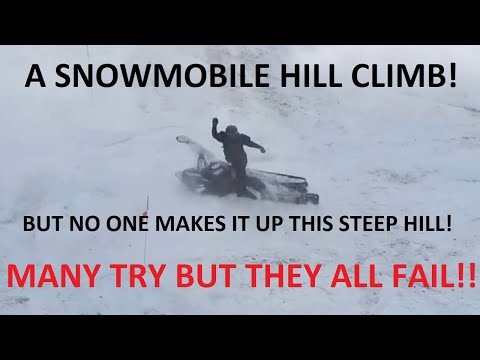 Crazy Snowmobile Hill Climb - Iron Mountain, MI