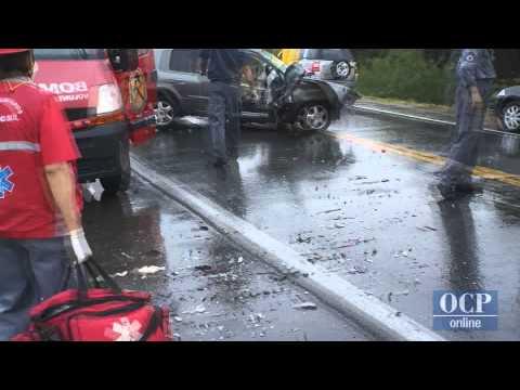 Acidente de carro com capotamento em Guaramirim