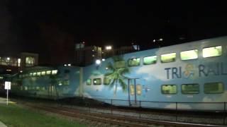 Northbound Tri-Rail equipment move with Loco #826 [BL36PH] is pushing three passenger cars.