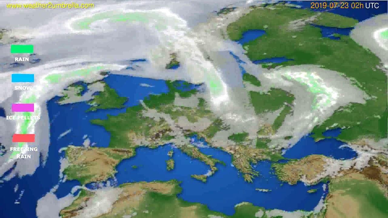 Precipitation forecast Europe // modelrun: 00h UTC 2019-07-21