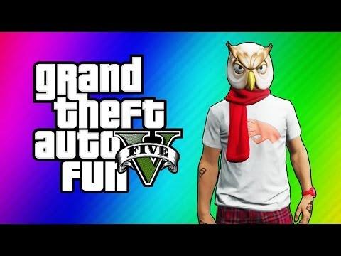 GTA 5 Funny Moments - I'm Not a Hipster DLC, Turdmobile Stunts, Raccoon Mask, Gate Launch Glitch
