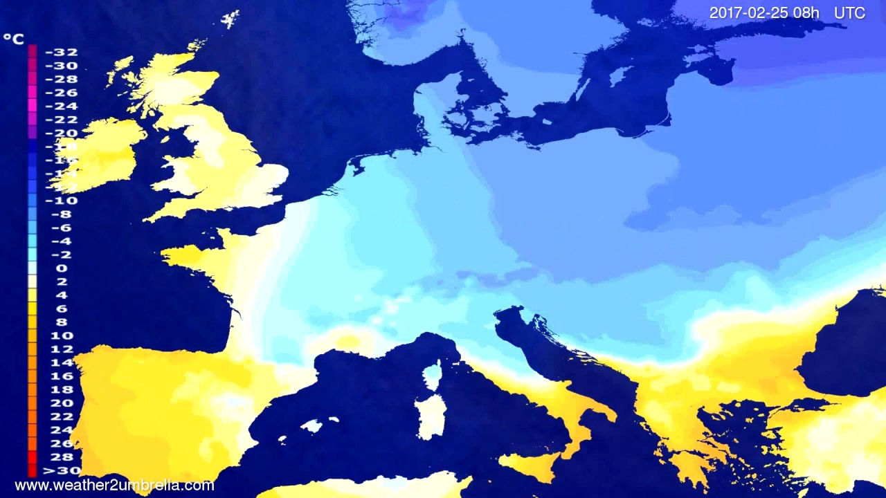Temperature forecast Europe 2017-02-22
