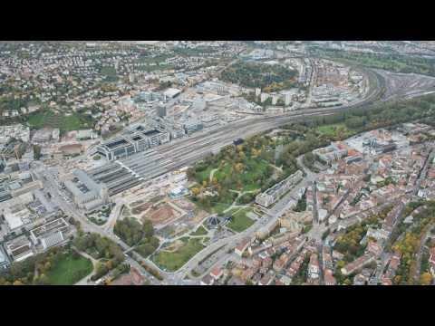 Bauarbeiten Stuttgart 21: Aus der Luft gesehen