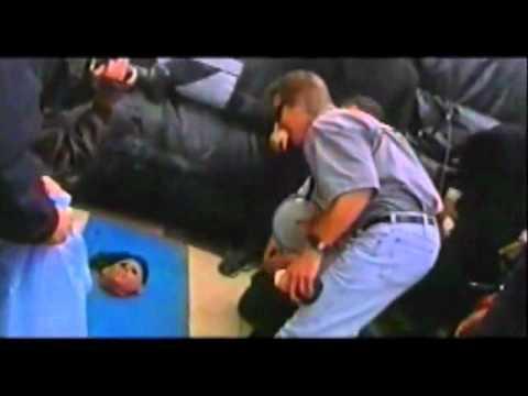 Stuntman is set on fire and jump through skyscraper window