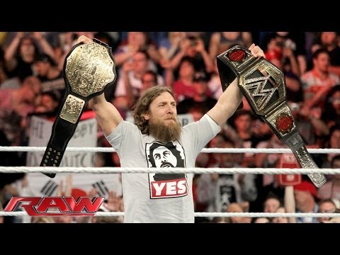 celebrates - The New WWE World Heavyweight Champion Daniel Bryan addresses the proud members of The