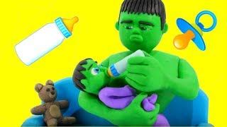 HULK BABY SITTER ❤ Frozen Elsa & Superhero Babies Play Doh Cartoons For Kids