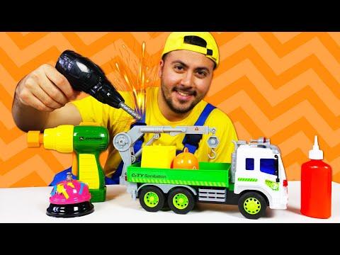 Çocuklar için araba oyunu! Eyvah, kırıldı! Çöp kamyonu bozuldu!