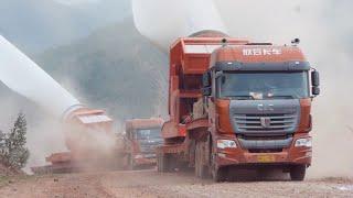 To jest dopiero hardcorowe zadanie! Transport łopat turbin wiatrowych przez góry!