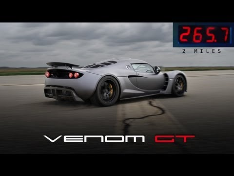 gt - On February 9, 2013 the Hennessey Venom GT attained a speed of 265.7 mph (427.6 km/h) and was still accelerating before running out of room on the 2.9 mile l...