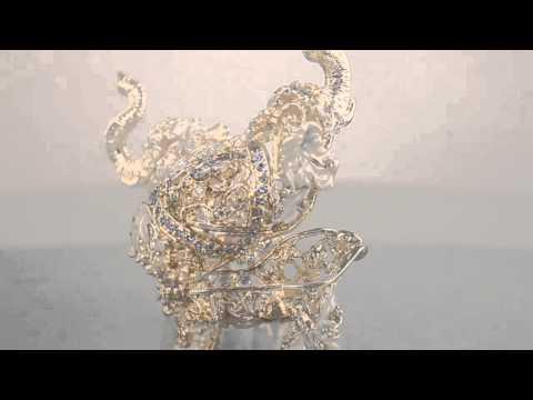 Golden Elephant Faberge style Trinket Box by Keren Kopal Swarovski Crystal