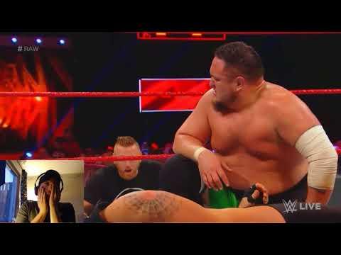 WWE Raw 8/1 2018 Rhyno vs Samoa Joe