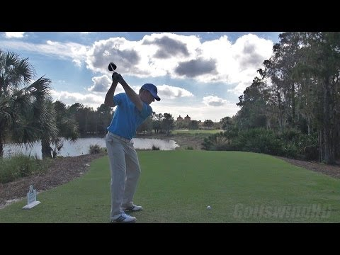 JUSTIN LEONARD – GOLF SWING DRIVER DOWN THE LINE REGULAR SPEED & SLOW MOTION  – 1080p HD