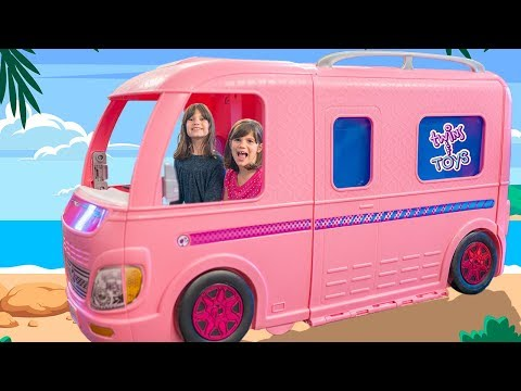 Kate & Lilly And Their Barbie Car - Pretend Play Magic