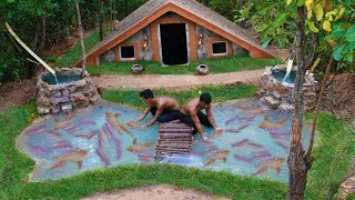Build Two waterfall Fish pond The Face Secret Swimming Pool House