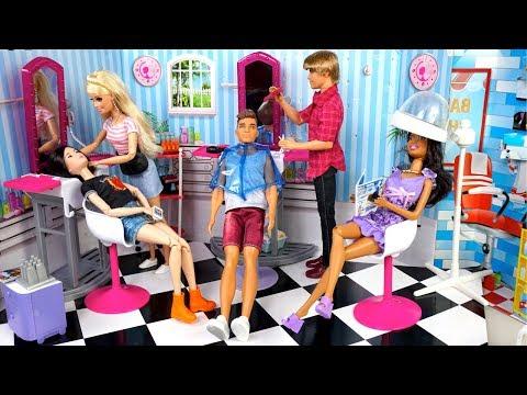 Hair salon - Barbie Beauty Salon Doll Makeover & Ken Barber Shop Toy - Titi Toys Barbie