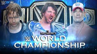 WWE 2K16 Simulation: No Mercy 2016 AJ Styles Vs Dean Ambrose Vs John Cena | WWE World Championship