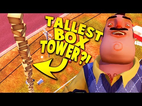 CAN WE BUILD THE TALLEST BOX TOWER EVER IN HELLO NEIGHBOR?! | Hello Neighbor Alpha 4 Gameplay (видео)