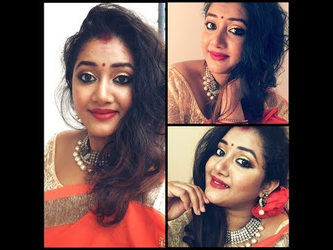 DURGA PUJA MAKEUP LOOK 3|| EASY || IN BENGALI ||BEWIDSHREE || PUJO SERIES