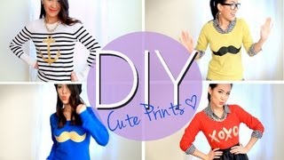 DIY Mustache & Cute Printed Sweaters or T-shirts {Easy} How to Make - YouTube
