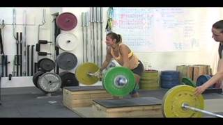 Daily Training 4-12-13 - Weightlifting training footage of Catalyst weightlifters. Audra snatch, Alyssa block muscle snatch, Jessica block snatch, Alyssa block snatch, Blake snatch, Audra clean and jerk, Brian power clean and jerk. - Catalyst Athletics Olympic Weightlifting Videos