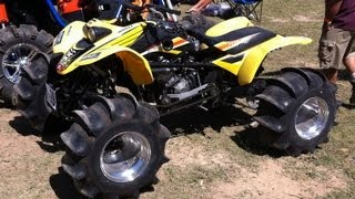 9. 4x4 400EX WALKS ON WATER 600EX! Awesome Skimming! CBR600RR Engine on ATV! Hydroplaning Quad!!!