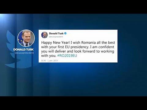 Μέσω τουίτερ υποδέχθηκαν το 2019 οι ηγέτες της ΕΕ